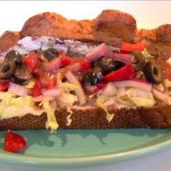 Uncle Bill's Open Face Hoagie With Cream Cheese and Black Olives recipe