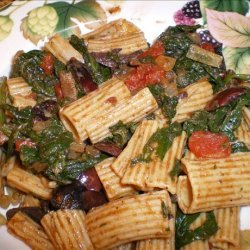 Penne With Spinach, Tomatoes and Olives recipe