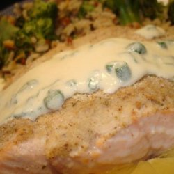 Baked Horseradish Salmon With Chardonnay Chive Butter Sauce recipe