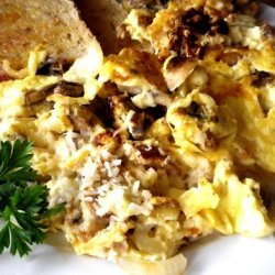 Scrambled Eggs With Mushrooms, Onions and Parmesan Cheese recipe