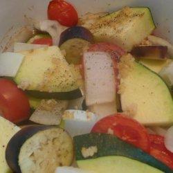 Baked Zucchini Eggplant  (Aubergine) and Tomatoes recipe