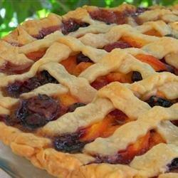Summer is Here Triple Berry Peach Pie recipe