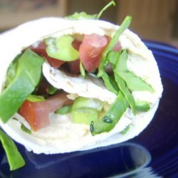 Hummus Wrap With Tomatoes and Spinach recipe