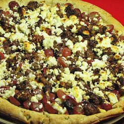 Sausage, Grape, and Goat Cheese Pizza recipe