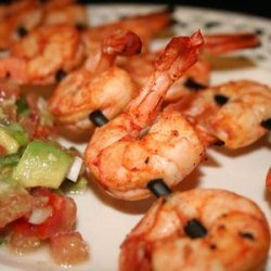 Spicy Lime Prawns Served With Tomato Avocado Salsa recipe