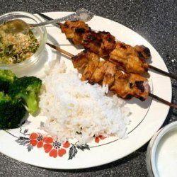 Curried Chicken Skewers With Toasted Coconut Gremolata recipe