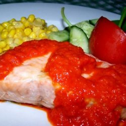 Broiled Salmon with Sweet Red Pepper Sauce recipe
