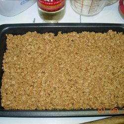 No Cook Scotcheroos -  Peanut Butter Rice Crispy Treats recipe