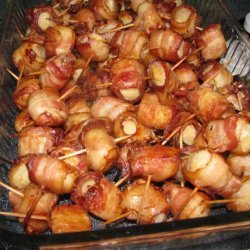 Spicy Ketchup Glazed Bacon-Wrapped Water Chestnuts recipe