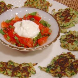 Zucchini and Sumac Fritters With Tomato and Mint Salsa recipe