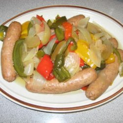 Crock Pot Bratwurst and Peppers recipe