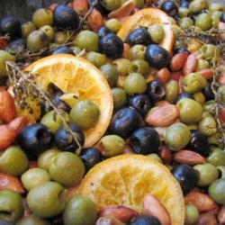Slow-Roasted Spanish Olives With Oranges and Almonds recipe