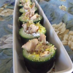 Little Smoked Salmon Cucumber Cups With Peppered Creme Fraiche recipe