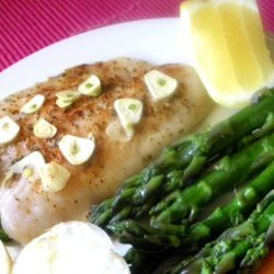 10-Minute Baked Halibut With Garlic-Butter Sauce recipe