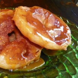 Apple Fritters With Cinnamon Sugar and Caramel Sauce recipe