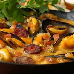 Mussels With Chorizo , Tomato and Wine recipe