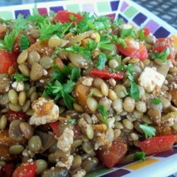 Lentil Salad With Roasted Sweet Potatoes and Queso Fresco recipe
