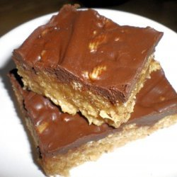 Chocolate Frosted Peanut Butter Crispy Rice Cereal Bars recipe