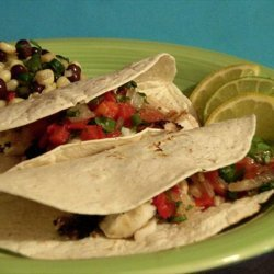 Grilled Halibut Tacos With Roasted Tomato & Tequila Salsa recipe