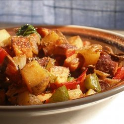 Peppers and Greens Skillet Hash recipe