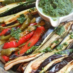 Roasted Vegetables Plate With Cilantro Parsley Dressing recipe