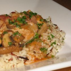 Rabbit  in a White Wine, Bacon, Onion  and Mushroom Sauce recipe