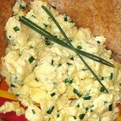 Scrambled Eggs With Chives and Asiago recipe
