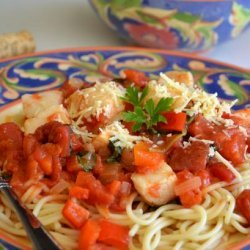 Angel Hair Pasta With Tomato-Scallop Sauce recipe
