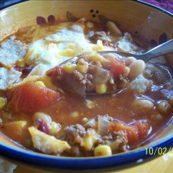 Taco Soup With Beans and Baked Tortillas recipe