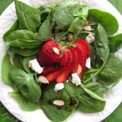 Spinach and Strawberry Salad With Feta Cheese and Balsamic Vinai recipe