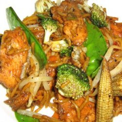 Honey and Five Spiced Lamb With Stir Fry Vegetables recipe
