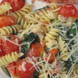 Fusilli With Spinach and Asiago Cheese recipe