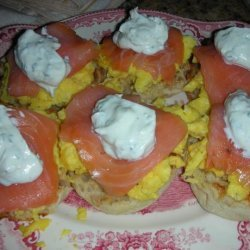 Scrambled Egg Muffins With Smoked Salmon and Sour Cream recipe