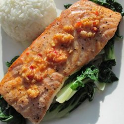 Salmon  With Bok Choy, Asian Sauce and Salmon Roe recipe