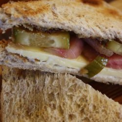 Cheddar Sandwiches With Quick Pickles and Honey Mustard recipe