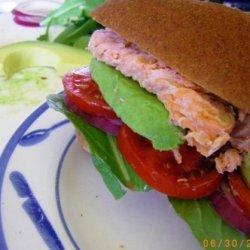 Smoked Salmon Burger (Tomato, Red Onion and Avocado) recipe