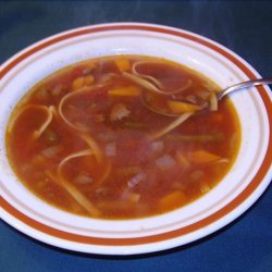 Hearty Beef Vegetable Soup with Noodles recipe