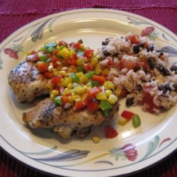 Grilled Chicken With  Corn and Sweet Pepper Relish recipe