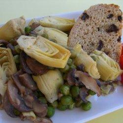 Artichoke Hearts, Green Peas and Mushrooms in a Lemon Sauce recipe