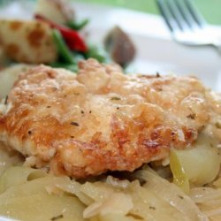 Sauced Chicken Breasts With Apples and Onions recipe