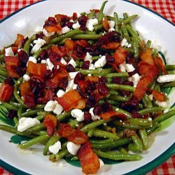 haricots verts with goat cheese and warm dressing recipe