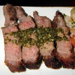 Grilled Strip Loin Steak With Bacon Chimichurri recipe