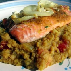 Golden Salmon on a Bed of Lentils recipe