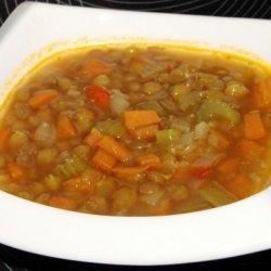 Ina Garten's  Lentil Vegetable Soup(Vegetarianized) recipe