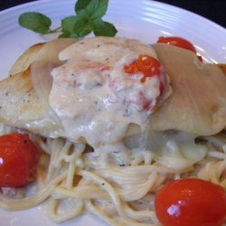 Mozzarella Topped Chicken With Roasted Tomato and Basil Sauce recipe