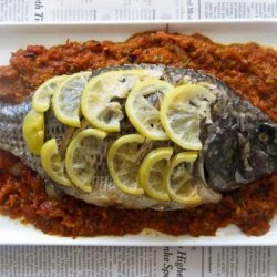 Lemon Grilled Whole Tilapia With Grilled Bell Pepper Salsa #RSC recipe