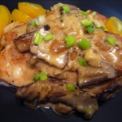 Chicken Breasts With Mushrooms, Swiss Cheese and White Wine recipe