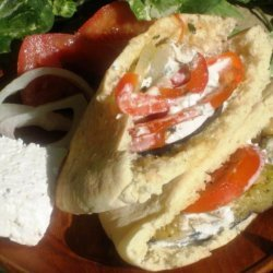 Roasted Vegetable Pita With Creamy Feta Dressing recipe