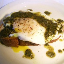 Poached Eggs and Parmesan Cheese over Toasted Brioche W/ Pistou recipe