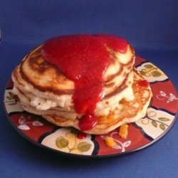 Peach Pancakes With Raspberry Sauce recipe